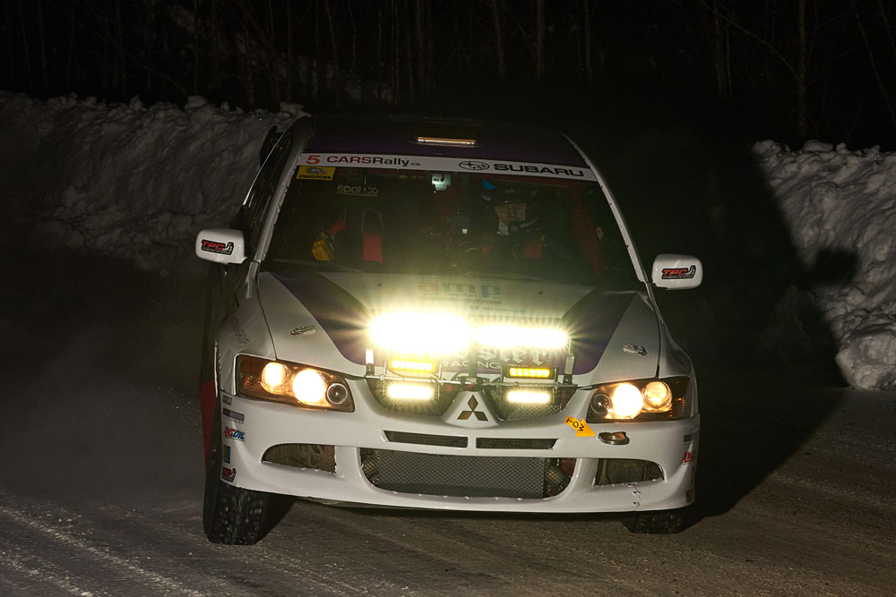 Hoosier Rally Tires Team at Rally Perce Neige in Maniwaki, Canada during a night stage